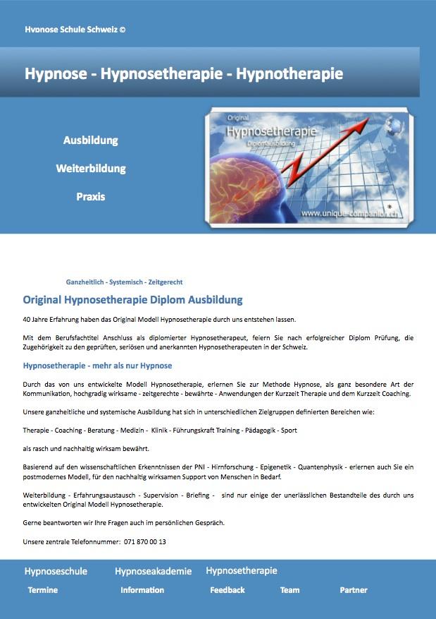 Hypnosetherapie Ausbildung zum diplomierten Hypnosetherapeut